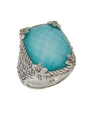 Judith Ripka Sterling Turquoise Doublet and Diamonique Monaco Ring (Size 7)