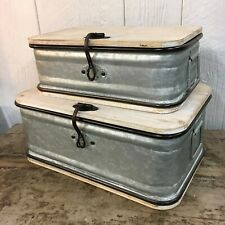 Set 2 Galvanized Metal & Wood Storage Container Farmhouse Shic Industrial Bin