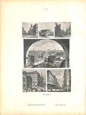 Immeubles gratte-ciel de Philadelphie USA/Dessin de Blanchet-Magon GRAVURE 1902