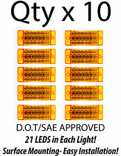 10- Amber 21 LED Side Marker Clearance Light  Rectangle 12V Truck Trailer Camper
