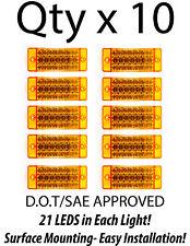 10- Amber 21 LED Side Marker Clearance Light  Rectangle 12V Truck Trailer Camper