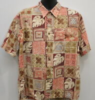 Cooke Street Men's Hawaiian Camp Shirt Size Large Cotton Aloha Red Green Blue
