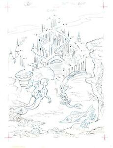 Walt Disney Little Mermaid Book Page Illustration Drawing Pete Alvarado plm2