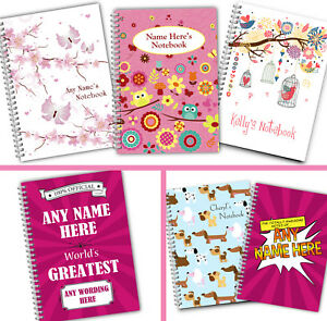 Personalised A5 Softbacked Notebook for her Female Girl Notepad Wirebound