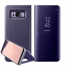Luxury Mirror Smart Clear Flip Case Cover for Samsung Galaxy S7 Edge S8 Note 8 Samsung S8 Plus Purple