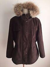 Calvin Klein Winter Coat Suede & Raccoon Fur Brown Size M