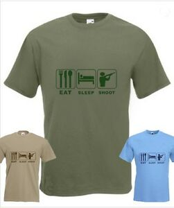 Shooting Hunter Eat Sleep Shoot Funny T-shirt in all Sizes and choice of colours