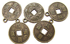 A3443FN Charm antique brass ptd pewter, 19mm Chinese Dynasty Coin,  19mm, 10 Qty
