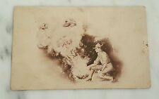 Antique Postcard Man in Period Attire By Fire With Memories