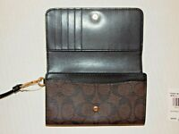 Signature Monogram Dark Brown Bi-Fold Wristlet Wallet - COACH - NWT - Leather