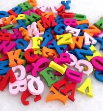 100Pcs Mixed Color No Hole Letter Wooden Buttons Fit Scrapbook 12mm-15mm ynk234