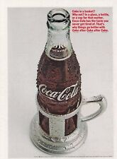 "1966 Ice Cold Coca-Cola 'Bottle-in-a-Basket?' photo ""Why Not?"" vintage print ad"