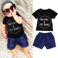 2Pcs Toddler Kids Baby Boys Casual Shirt Tops+Shorts Pants Outfits Clothes Set