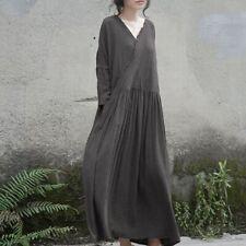 Plus Womens Cotton Linen Flax Long Maxi Loose Dresses V-neck Tunic Robes Retro