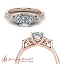 3/4 Carat Asscher Cut Diamond Petite Cathedral Engagement Ring In 18K Rose Gold