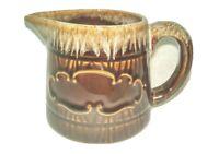 STONEWARE Brown Glazed Vintage Pottery Creamer Syrup Pitcher Tableware EUC