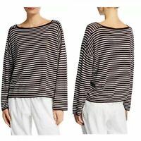 Eileen Fisher Women Top Seamless Sleek Tencel Stripe Brown Relaxed Size S