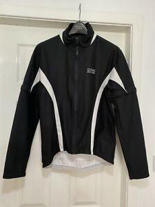 Gore Windstopper Cycle Jacket Medium Zip Off Arms Black White Full Zip