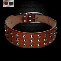 Cool Spiked Studded Genuine Leather Pet Dog Collar Heavy Duty for Dogs S M L XL