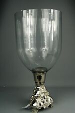 Large Shabby Chic Vintage Style Antique Silver Ornate Hurricane Lamp