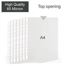 More details for a4 clear poly plastic punched pockets strong quality wallets sleeves - 60 micron