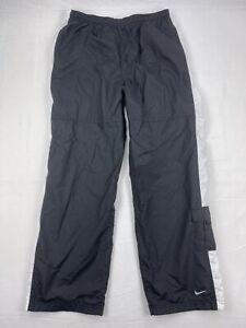 Nike Mens Black with White Stripe Fleece Lined Windbreaker Track Pants Large
