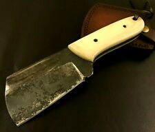 Handmade Carbon Steel Hatchet/ Axe-Antique style-Leather Sheath-Lanyard
