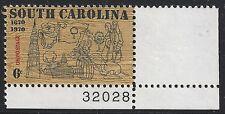 US Scott #1407, Plate Single #32028 1970 South Carolina 6c FVF MNH