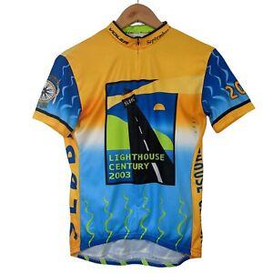 Voler Yellow & Blue Lighthouse Century 2003 Cycling Jersey - Size Medium