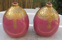 Vintage Pink Ceramic Vase Art Craft Gold Enamel Ceramic Two Vases