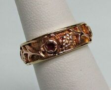 BEAUTIFUL 14K ROSE GOLD & RUBIES GRAPES WEDDING BAND RING SIZE 6