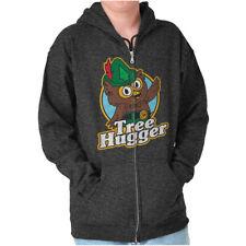 Tree Hugger Vintage Woodsy The Owl Nature Zipper Sweat Shirt Zip Sweatshirt