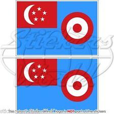 "SINGAPORE Aeronautica Militare RSAF 1968-73 Bandiera Adesivi 75mm 3"" Stickers x2"