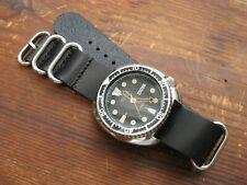 Black Leather 'Nato-Zulu'-Style Watch Strap Band 22mm eg Seiko 'Turtle' etc