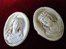 RELIQUAIRES ECUME de MER NAPOLEON III Jésus et MARIE OLD RELIGIOUS CARVINGS