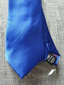 Blue Mens Tie Satin Plain by DQT