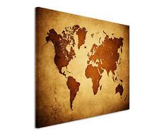 120x80cm Leinwandbild auf Keilrahmen Weltkarte antik vintage