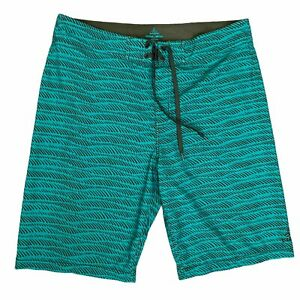 "Prana Board Shorts Men's Size 34 Green Brown Striped 11"" Inseam Stretch UPF 50+"