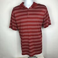 Nike Golf Tour Performance Men's Large L Striped Dri-Fit Red Golf Polo Shirt