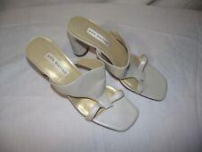 Ann Marino Women 8.5 Pearl Leather Slip-on Sandals Open-Toe Mules Heels EUC