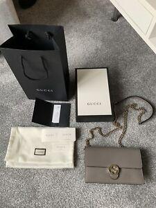 Genuine Gucci Interlocking GG Wallet On Chain Bag/Clutch Grey