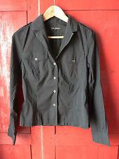 TARA JARMON : Haut chemise noir, col V, en coton et polyamide, taille 40 = 38/40
