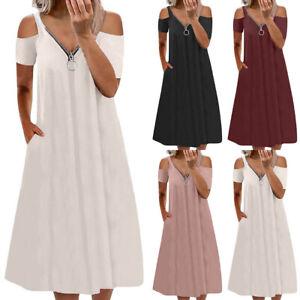 Womens Cold Shoulder Zipper V-neck Midi Dress Ladies Casual Tunic Swing Dresses