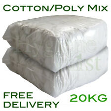 20Kg White Cotton/Poly Mix Wiper Industrial Engineers Garage Rags Wipers