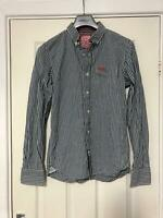 Superdry Blue Casual Shirt Size Medium Mens Long Sleeve Great Condition (D909)