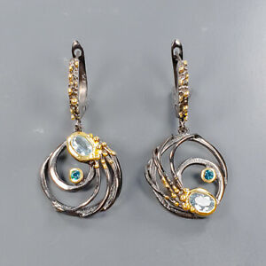 Vintage SET Blue Topaz Earrings Silver 925 Sterling   /E55403
