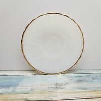 """Anchor Hocking Fire King White Milk Glass Swirl Gold Rim 6"""" Saucer Replacement"""