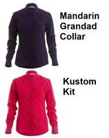 Kustom Kit KK261 Ladies Long Sleeve Shirt Blouse Mandarin grandad collar NEW