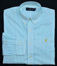 New Large L POLO RALPH LAUREN Mens button up down dress shirt blue stripes 16.5