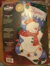 """Bucilla SNOWMAN WITH LIGHTS 18"""" Christmas Felt Stocking Kit - Unopened Package"""